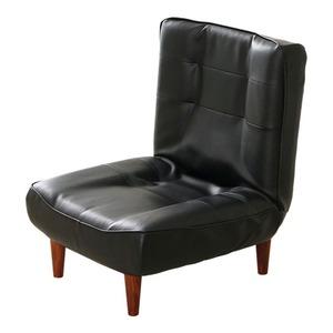 ハイバックソファー 1人掛け 合成皮革 ブラック - 拡大画像