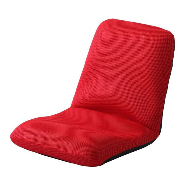 背筋ピン 座椅子/パーソナルチェア 【Mサイズ レッド メッシュ生地】 約幅43cm スチールパイプ リクライニング 日本製