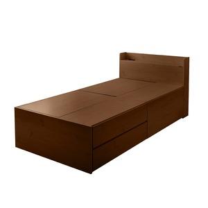 選べる収納ベッド シングル(ボンネルコイルマットレス付き) (ハイタイプ:引出し大×1・引出し小×2)ブラウン - 拡大画像