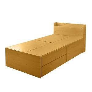選べる収納ベッド シングル(ポケットコイルマットレス付き) (ハイタイプ:引出し大×1・引出し小×2)ナチュラル - 拡大画像