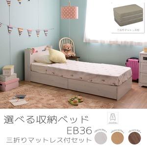 選べる収納ベッド シングル(ボンネルコイルマットレス付き) (ロータイプ:引出し×2)ホワイト - 拡大画像
