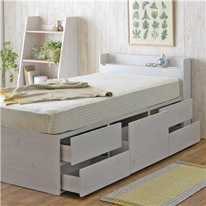 VICE(ヴィース) マットレス付き収納ベッド(収納3分割/ハイタイプ) シングル ホワイト【組立品】 - 拡大画像