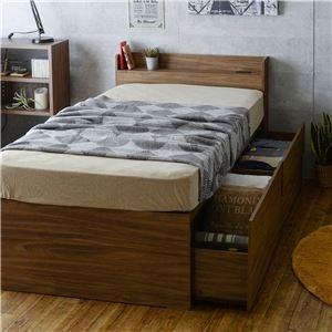 VAJI(ヴァジー) マットレス付き収納ベッド(収納2分割/ハイタイプ) シングル ブラウン【組立品】 - 拡大画像