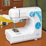 ポータブルミシン/縫製機 【幅33.7cm】 引き出し フットスイッチ付き 直線縫い まつり縫い ジグザグ縫い ボタン穴縫い対応