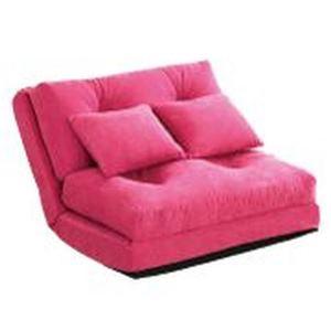 3WAY ソファーベッド 【シングル 幅90cm ピンク】 日本製 パイプフレーム ウレタン クッション2個付き 完成品 〔リビング〕 - 拡大画像