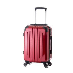 軽量スーツケース/キャリーバッグ 【レッド】 61L 3.8kg ファスナー 大型キャスター TSAロック - 拡大画像