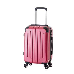 軽量スーツケース/キャリーバッグ 【ピンク】 61L 3.8kg ファスナー 大型キャスター TSAロック - 拡大画像