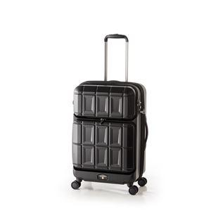 スーツケース 【マットブラック】 拡張式(54L+8L) ダブルフロントオープン アジア・ラゲージ 『PANTHEON』 - 拡大画像