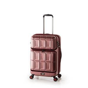 スーツケース 【マットブラッシュレッド】 拡張式(54L+8L) ダブルフロントオープン アジア・ラゲージ 『PANTHEON』 - 拡大画像