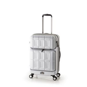 スーツケース 【マットブラッシュホワイト】 拡張式(54L+8L) ダブルフロントオープン アジア・ラゲージ 『PANTHEON』 - 拡大画像