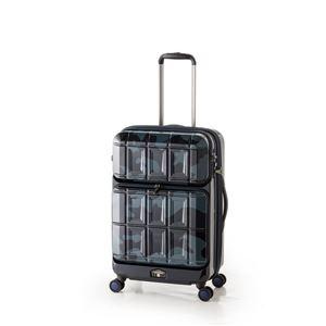 スーツケース 【ネイビーカモフラージュ】 拡張式(54L+8L) ダブルフロントオープン アジア・ラゲージ 『PANTHEON』 - 拡大画像
