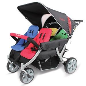 4人乗りシートタイプ高機能モデルの「オートブレーキ・折りたたみ自立機能付き・4人乗り高機能モデル 大型ベビーカーFamilidoo(ファミリードゥー) 幼稚園 保育園 お散歩用」