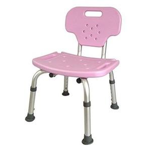 背もたれ着脱 シャワーチェア 【ピンク】 幅42cm 座面高3段階 防滑 防カビ仕様 『Yurax Chair オリジナル』