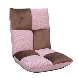 千鳥格子 ハイバック 座椅子 オズマ ピンク