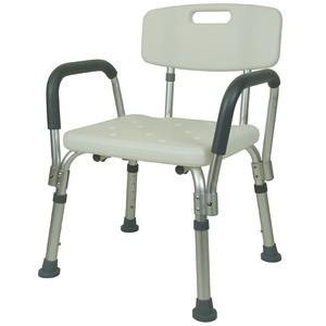 シャワーチェア 介護 肘掛け付 風呂椅子 背もたれ付き 座面高さ調節5段階 ホワイト RE306L-2 - 拡大画像