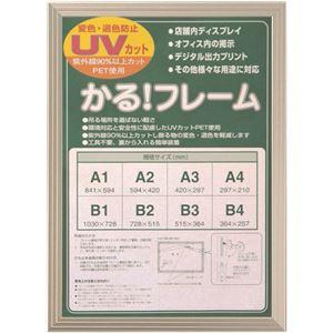 多目的 フレーム/額縁 【A4 シルバー】 表面カバー:UVカット機能付きPET 『かる!フレーム』  - 拡大画像