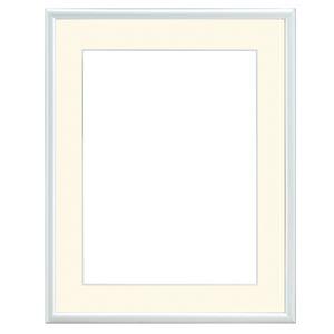 水彩額/水彩画額縁 【水彩F4 ホワイト】紙マット 吊金具付き 木製