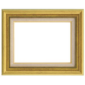 シンプルテイスト 油絵額縁/油彩額縁 【F10 ゴールド】 表面カバー:アクリル 樹脂製 吊金具付き - 拡大画像