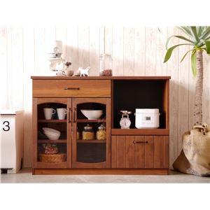 木目調キッチンカウンター/キッチン収納 【幅120cm】 引き出し収納 扉付き スライド棚 『MONTシリーズ』 - 拡大画像
