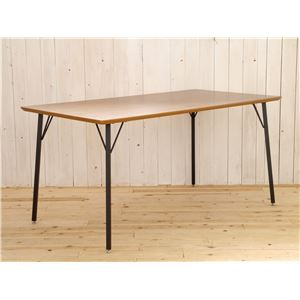 木目調ダイニングテーブル/リビングテーブル 【長方形 幅150cm】 スチール脚 『MONTシリーズ』 - 拡大画像