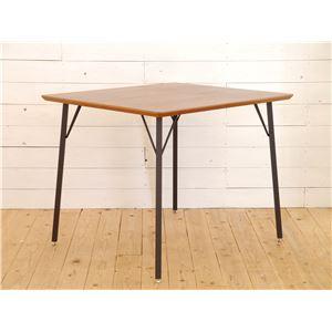 木目調ダイニングテーブル/リビングテーブル 【長方形 幅90cm】 スチール脚 『MONTシリーズ』 - 拡大画像