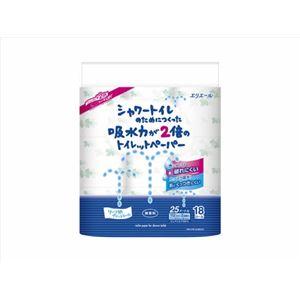 (まとめ)エリエール シャワートイレのためにつくった吸水力が2倍のトイレットペーパー 18ロール(ダブル) 【× 4 点セット】 - 拡大画像