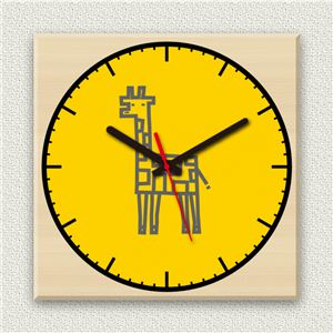壁掛け時計/デザインクロック 【キリン】 30cm角 木材/メープル調素材 『MYCLO』 〔インテリア雑貨 贈り物 什器〕 - 拡大画像