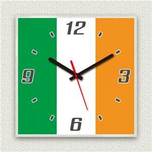 壁掛け時計/デザインクロック 【アイルランド国旗】 30cm角 アクリル素材 『MYCLO』 〔インテリア雑貨 贈り物 什器〕 - 拡大画像