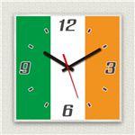 壁掛け時計/デザインクロック 【アイルランド国旗】 30cm角 アクリル素材 『MYCLO』 〔インテリア雑貨 贈り物 什器〕
