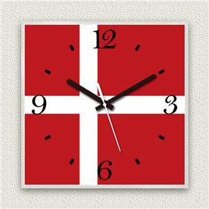 壁掛け時計/デザインクロック 【デンマーク国旗】 30cm角 アクリル素材 『MYCLO』 〔インテリア雑貨 贈り物 什器〕 - 拡大画像