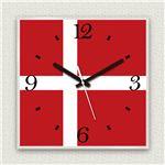 壁掛け時計/デザインクロック 【デンマーク国旗】 30cm角 アクリル素材 『MYCLO』 〔インテリア雑貨 贈り物 什器〕