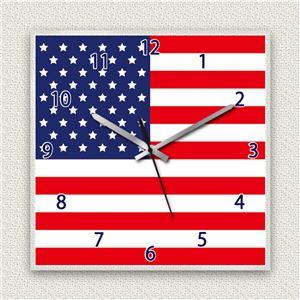 壁掛け時計/デザインクロック 【アメリカ国旗】 30cm角 アクリル素材 『MYCLO』 〔インテリア雑貨 贈り物 什器〕 - 拡大画像