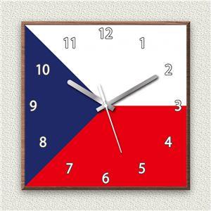 壁掛け時計/デザインクロック 【チェコ国旗】 30cm角 木材/ウォールナット調素材 『MYCLO』 〔インテリア雑貨 贈り物 什器〕 - 拡大画像