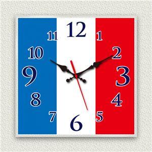 壁掛け時計/デザインクロック 【フランス国旗】 30cm角 アクリル素材 『MYCLO』 〔インテリア雑貨 贈り物 什器〕 - 拡大画像