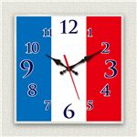 壁掛け時計/デザインクロック 【フランス国旗】 30cm角 アクリル素材 『MYCLO』 〔インテリア雑貨 贈り物 什器〕