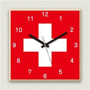 壁掛け時計/デザインクロック 【スイス国旗】 30cm角 木材/メープル調素材 『MYCLO』 〔インテリア雑貨 贈り物 什器〕 - 拡大画像