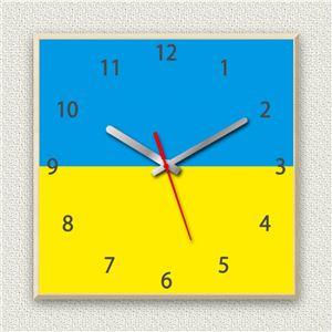 壁掛け時計/デザインクロック 【ウクライナ国旗】 30cm角 木材/メープル調素材 『MYCLO』 〔インテリア雑貨 贈り物 什器〕 - 拡大画像