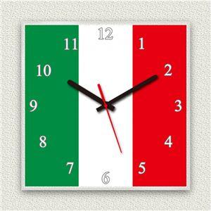 壁掛け時計/デザインクロック 【イタリア国旗】 30cm角 アクリル素材 『MYCLO』 〔インテリア雑貨 贈り物 什器〕 - 拡大画像