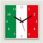 壁掛け時計/デザインクロック 【イタリア国旗】 30cm角 アクリル素材 『MYCLO』 〔インテリア雑貨 贈り物 什器〕