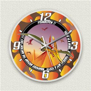 壁掛け時計/デザインクロック 【プテラノドン】 直径30cm アクリル素材 『MYCLO』 〔インテリア雑貨 贈り物 什器〕 - 拡大画像