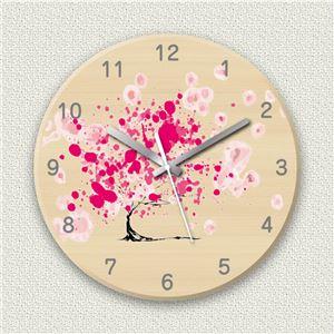 壁掛け時計/デザインクロック 【筆サクラ】 直径30cm 木材/メープル調素材 『MYCLO』 〔インテリア雑貨 贈り物 什器〕 - 拡大画像