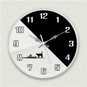 壁掛け時計/デザインクロック 【シルエットネコ】 直径30cm アクリル素材 『MYCLO』 〔インテリア雑貨 贈り物 什器〕 - 拡大画像