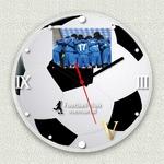 フォトフレーム時計/デザインクロック 【サッカー】 幅30cm アクリル製 L版 『MYCLO』 〔送別品 記念品 贈り物〕