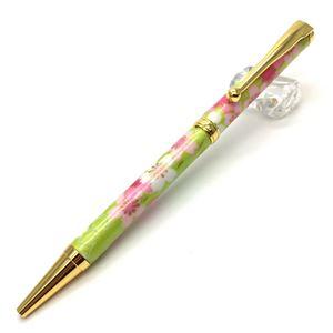 日本製 美濃和紙(友禅紙) ハンドメイドボールペン 桜と流水/黄緑色 - 拡大画像