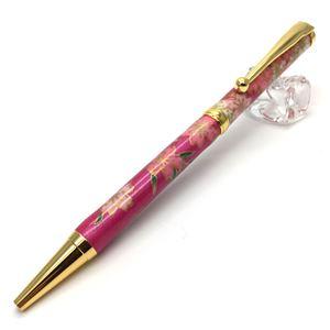 日本製 美濃和紙(友禅紙) ハンドメイドボールペン しだれ桜/紫色 - 拡大画像