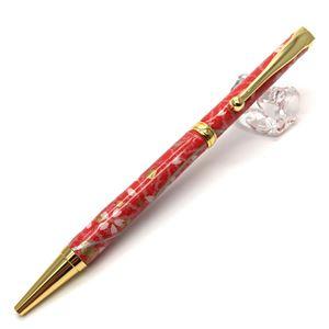 日本製 美濃和紙(友禅紙) ハンドメイドボールペン 桜と麻の葉/朱色 - 拡大画像