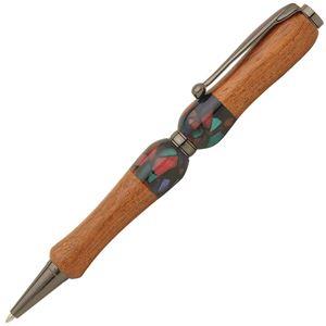 日本製 Acrylic&Woodハンドメイドボールペン 【クロスタイプ/芯:0.7mm】かりん×BK ティンバーネオン - 拡大画像