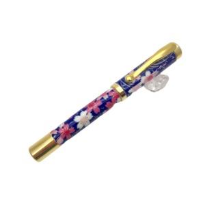 日本製 美濃和紙(友禅紙)万年筆 桜と流水(紺色) - 拡大画像