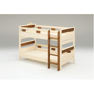 ヒノキ材 国産2段ベッド はしご左右差し替え可 シングル使用可 (フレームのみ) ブラウン 『COCO』 日本製 ベッドフレーム