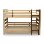 防ダニ 防カビ 抗菌 国産ヒノキ材二段ベッド (フレームのみ) シングル ブラウン 日本製ベッドフレーム 木製 シングル使用可